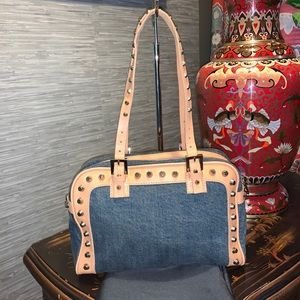 FENDI Denim Canvas Leather Studded Shoulder Bag